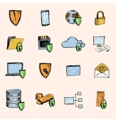 Data protection sketch icons colored vector image vector image