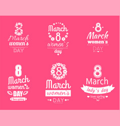 Group of labels womens day march 8 greeting cards vector