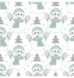 happy snowman seamless pattern Hand drawn modern vector image
