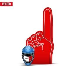 Lacrosse sports fan foam fingers and helmet vector