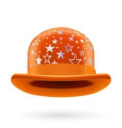 Orange starred bowler hat vector image vector image