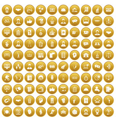 100 coherence icons set gold vector