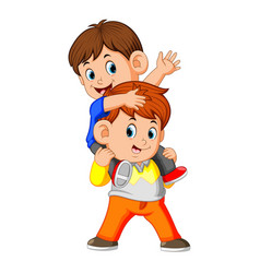 a happy little boy carrying her brother vector image