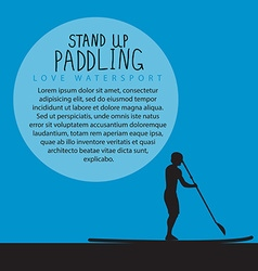A men with stand up paddle board and paddle vector