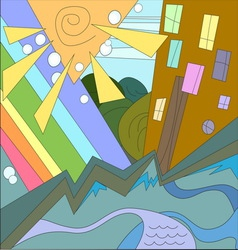 abstract city rainbow sun river home vector image