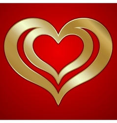abstract pair of golden hearts on red background vector image