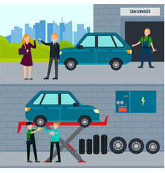 auto and tire services horizontal banners vector image