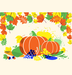 autumn harvest festival with leaves and vector image