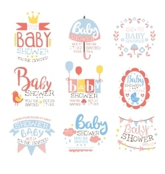 Baby Shower Invitation Template In Pastel Colors vector