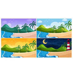Background scene with ocean at different times vector