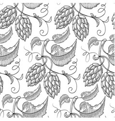black hand drawn beer hop seamless pattern vector image