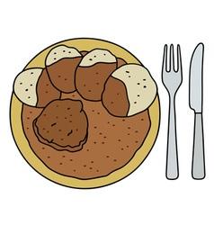 Brown sauce with dumplings vector