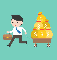 business man pulling cart full of money business vector image