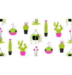 Cactus and succulent in pots seamless pattern vector