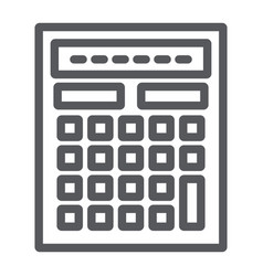 calculator line icon mathematics and accounting vector image