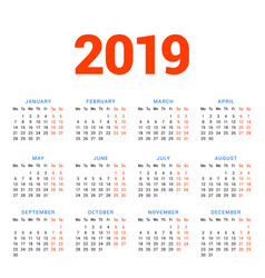 calendar for 2019 year on white background week vector image