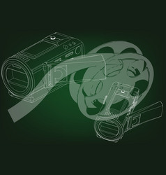 camera and a film on green vector image