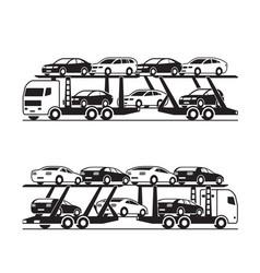 Car transporter truck in perspective vector