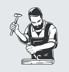 carpenter with hammer jack plane carpentry logo vector image