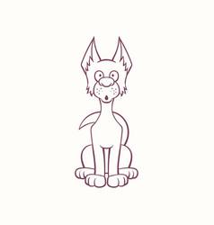 Cartoon pooch dog in ink contour style vector