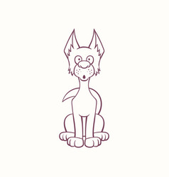 Cartoon pooch dog in the ink contour style vector