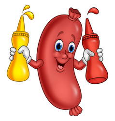 cartoon sausage with mustard sauce and ketchup squ vector image