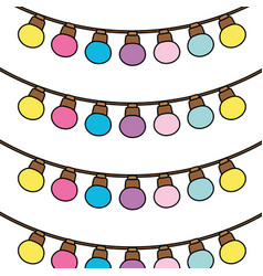 Color cute bulb hanging decoration background vector