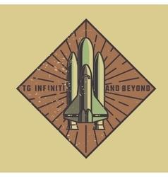 Color vintage space emblem vector