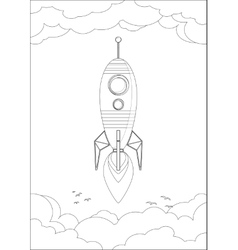 Cosmo Rocket in the sky with clouds and birds vector image