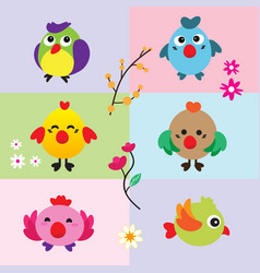 cute birds with flower vector image