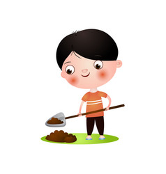 cute smiling brunette boy digging in garden with vector image