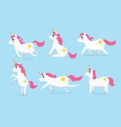 Cute unicorns character set of six vector