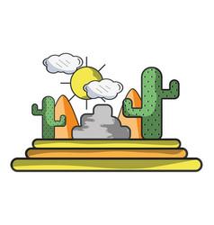 Desert and cactus vector
