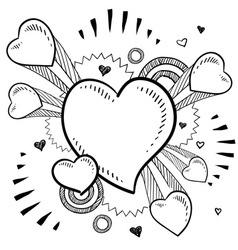 doodle pop heart vector image