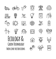 Ecology green technology organic outline icons vector