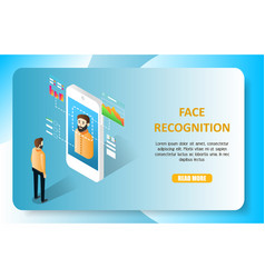 Face recognition landing page website vector