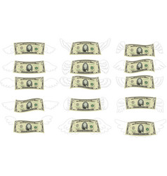Feathered deformed 5 dollars note set vector