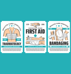 First aid and trauma wound bandaging posters vector