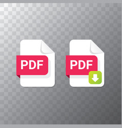 Flat pdf file icon and pdf download vector