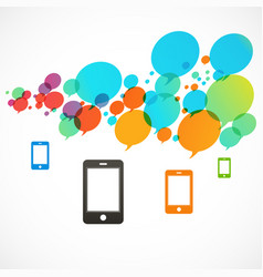 Four color smartphones many bright circle vector