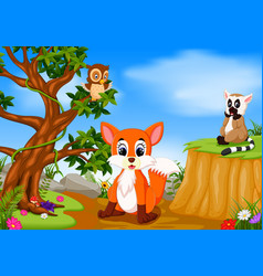 Fox owl and lemur with mountain cliff scene vector