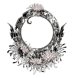 frame with pink chrysanthemum vector image