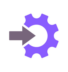 Gear and arrow icon isolated on white flat vector