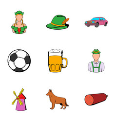 germany icons set cartoon style vector image