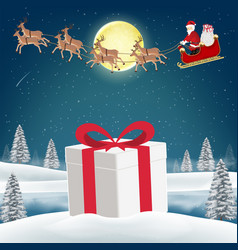 gift box on snow with santa claus and reindeer vector image