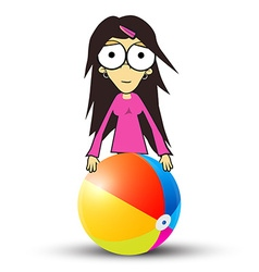 Girl - Woman in Pink Clothes Holding Beach Ball vector image