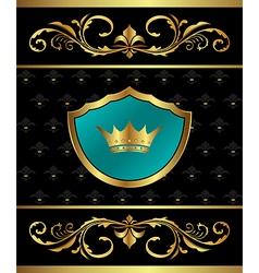 Golden frame with heraldic elements vector
