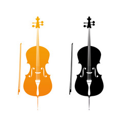 Golden icons of cello vector