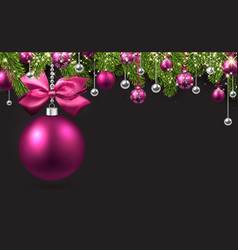 Grey background with pink christmas ball vector