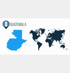 guatemala map located on a world map with flag vector image
